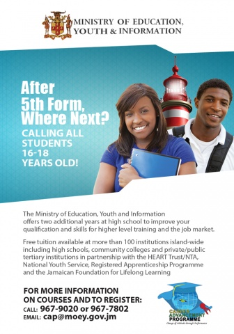 career advancement programme cap jamaica ministry of education youth information