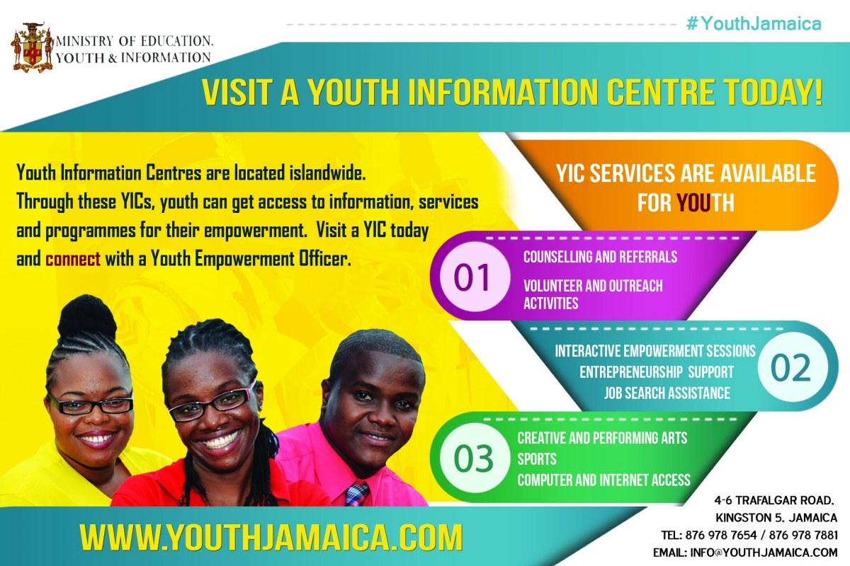 Youth Information Centres Jamaica Youth Development Minister  Floyd Green YIC Innovation Scholarships Volunteer