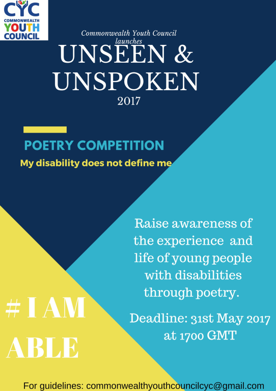 commonwealth youth council i am able poetry competition persons with disabilities